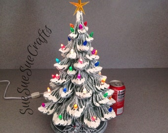 ceramic Christmas tree Large 18 inch Traditional Old Fashioned Ceramic Christmas Tree Drybrushed  with Snow ......Ready to ship #07292015