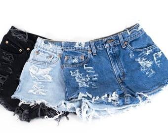 LEVI'S Denim Cutoff Shorts Tattered Blue 1970s Distressed Highwaist Levi Jean Shorts