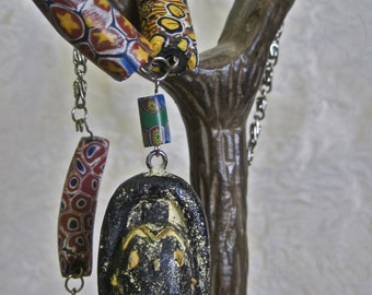 TWO FACED: African Trade Beads Antique Venetian Glass Millefiori Assemblage Tribal 2 Sided Mask Pendant Extra Long Adjustable Silver Chain