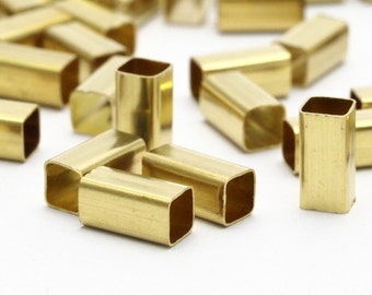 Square Tube Bead, 100 Raw Brass Square Tubes  (4x8mm) Bs 1585