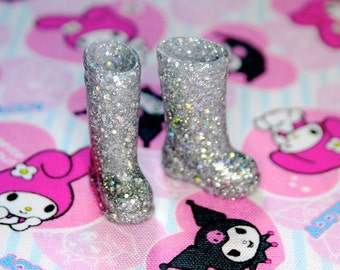 Blythe Silver fine & Chunky Glitter Doll Gumboots