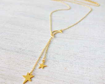 Luna Necklace, v necklace, signature necklace, cosmic jewelry