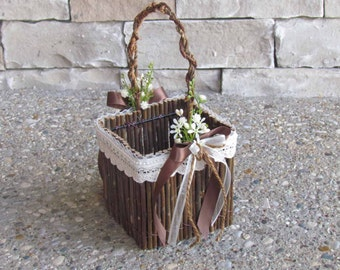Rustic Twig Flower Girl Basket with Ivory Lace, for your Flower Girl