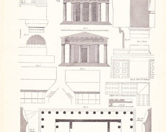 1898 Architecture Print - Grecian Doric - Vintage Antique Art Illustration History Geography Great for Framing 100 Years Old