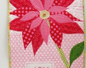 "Poinsettia wall quilt for Christmas  ""JOY"" in pink-  hand-embroidered, appliqued, wall hanging, art quilt - Ready to ship"