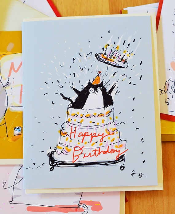 Giant Cake Funny Birthday Card Cat – Giant Birthday Cards