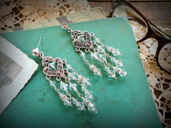 Crystal Chandelier Earrings Handmade, Rhinestone, Sterling Silver, Silver Plated FREE SHIPPING USA