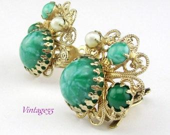 Earrings Green Gold tone Filigree Clip on