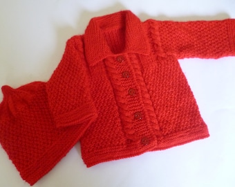 Sweater and Beanie, Baby Sweater Set, Knitted Baby Set, Red Baby Set, Christmas Baby Set, Knitted Baby Sweater, Knitted Baby Hat.