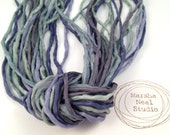 Stormy Waters Blue Gray Green Silk Ribbon 2mm Cords Hand Painted Silks Craft Supplies