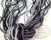 2mm Silk Ribbon Cord in Stormy Skies Blue Gray Black Color Palette Marsha Neal Studio Bracelet Supplies Craft Supplies