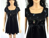 Vintage Little Black Dress. Floral. XOXO. Small. Size 3. 1990s. Short Sleeve. NOS. Mini Dress. Black. Under 50.