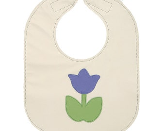 Leather Baby Bib, Easy to Clean and Guaranteed Not to Stain, Reversible with Food Catcher, Purple and Lime Tulip - baby or toddler size