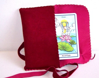 Leather Tarot Bag....PINK...SUEDE