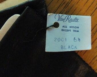 Vintage Van Raalte Black Nylon Gloves - Size 6 1/2 - Never Worn!