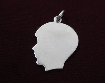 "Boy Silhouette Sterling Silver Charm- Male Face Profile- Engraved with the name ""Denny"" -Vintage Charm Pendant 925"