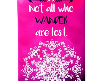 Mandala Canvas Print / Hot pink ombre / Navy Tribal / Not all who wander are lost / 8x10 Print on Canvas