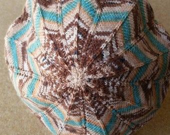 Starburst Slouchy Beret / Tam / Hat  - Colourway Turquoise / Brown  - FREE SHIPPING WORLDWIDE