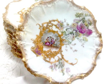 Antique Limoges LS & S - 8 Floral Dessert Plates - FRANCE - Fancy Scalloped Edges - Gilt / Gold Encrusted - Edwardian Neoclassical 8 plates