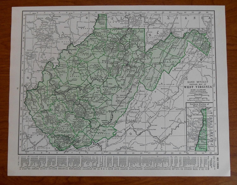 west virginia map 1930s vintage green us state map wall art. Black Bedroom Furniture Sets. Home Design Ideas