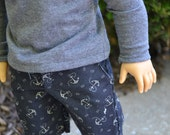 18 inch Doll Clothes - Navy Anchor Long Shorts - blue, grey - fits American Girl - for BOY or GIRL