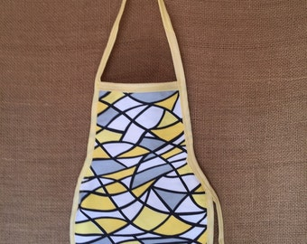 Toddler Apron (Montessori Style,Velcro closure, reversible, yellow, abstract)
