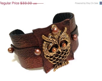 50% OFF SALE Owl leather bracelet with pearls Leather Jewelry Cuffs  Wrist Bands for Women