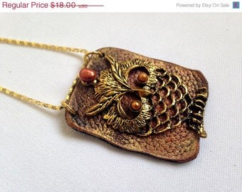 50% OFF SALE Owl pendant Leather and pearl Statement Necklace Leather jewelry