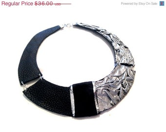 50% OFF SALE Silver color leather necklace Bib necklace Statement collar Leather jewelry