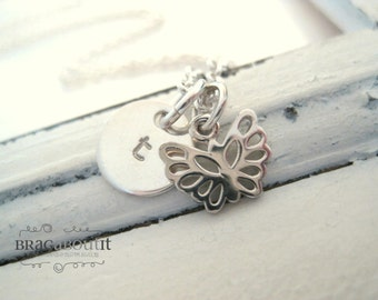 Hand Stamped Initial Necklace . Hand Stamped Personalized Jewelry . Brag About It . Teeny Tiny Butterfly
