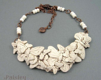 Antiqued Ivory Butterfly Bib Necklace, polymer clay collage and copper chain, adjustable length, insect jewelry