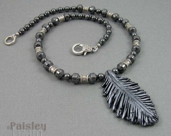Black Raven Feather beaded Necklace, silvery black polymer clay feather with hematite beads, feather jewelry