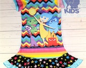 Emotions - a dress made out of authentic INSIDE OUT tshirt super cool funky recycled upcycled  pieced  size 6