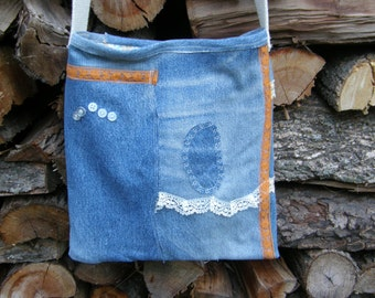 Re-purposed Jeans Shoulder Bag