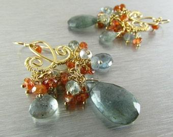 Moss Aquamarine and Sunstone Golden Chandelier Earrings