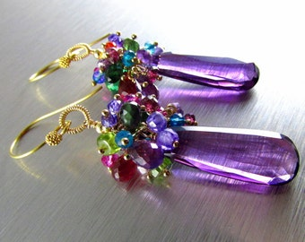 Colorful Quartz With Amethyst Gold Filled Wire Wrapped Cluster Earrings