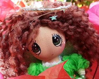 """come see a little EMERALD ROSEBUD ANGEL....trinket box, 4.5"""" kawaii angel doll, island aloha angel, whimsical wood doll, handmade in hawaii"""