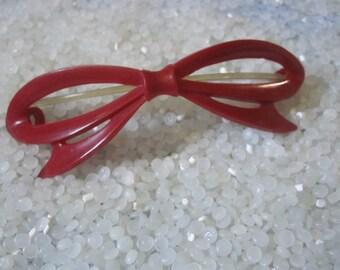 Large vintage barrettte, red bow