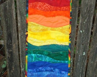 Rainbow Beaded fiber Art Wallhanging