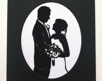 First Anniversary Gift Custom Silhouette Wedding Portrait with 11x14 Mat