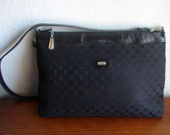 Vintage Black Pierre Cardin Signature Logo Shoulder Bag