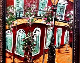 French Quarter Corner In Bloom original painting -Framed~Free Shipping