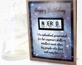 Nerd Girl Science Birthday Card - Greeting Card, Chemistry, Teacher Gift Idea - Feminine, Gift for Her