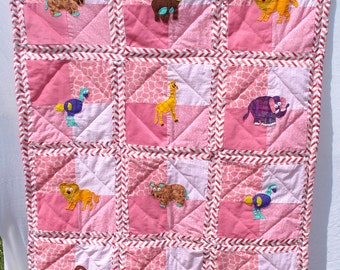 Wild Animals Crib Quilt for Baby Girls, Hand Appliqued, Hand Quilted