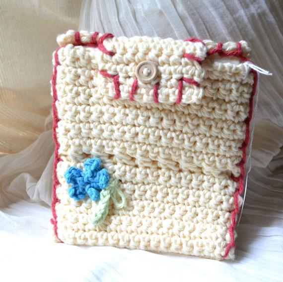 Ivory Envelope Clutch Purse, Tarot Deck Bag - Hand Crocheted, Handmade OOAK Keepsake, Free US Shipping, Travel, Wedding, Metaphysical, Lined