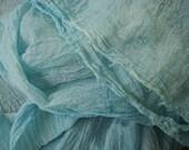 Blue Organic Cotton Gauze Fabric by the Yard, Crinkle Gauze Fabric Yard, Newborn Photo Prop, Cotton Sheer Fabric
