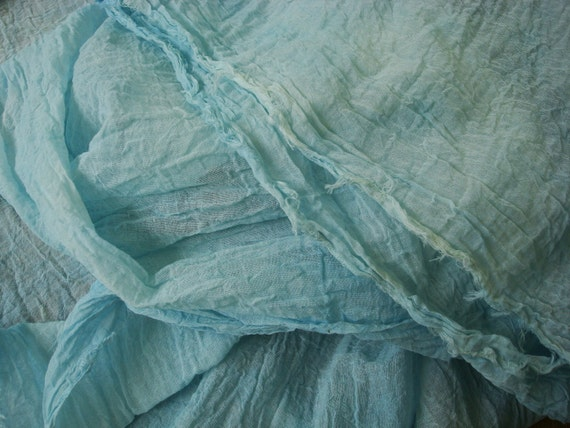 Blue Crinkle Cotton Fabric By The Yard Blue Home Decor