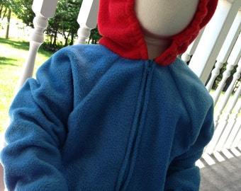 Custom Blue and Red Creature Fleece Costume