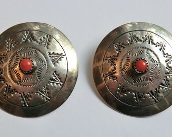 Sterling Coral Earrings Stamped Navajo Design Southwest Boho Fashion
