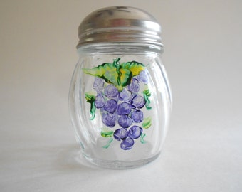 Purple Grapes Cheese Shaker Cheese Jar Cheese Bottle Cheese Dispenser Parmesan Cheese Jar Hand Painted Jar Clear Glass Grapes Kitchen
